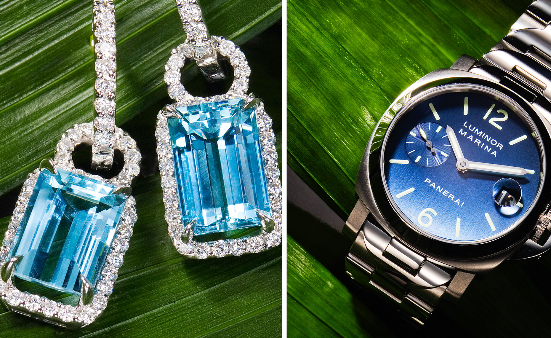Blue earrings and watches on green grass background