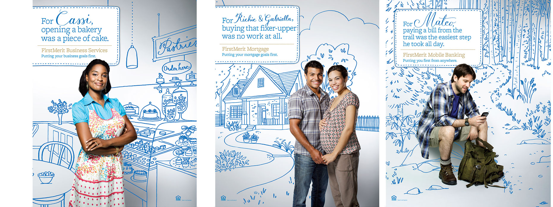 Photo illustrations of customers for FirstMerit bank