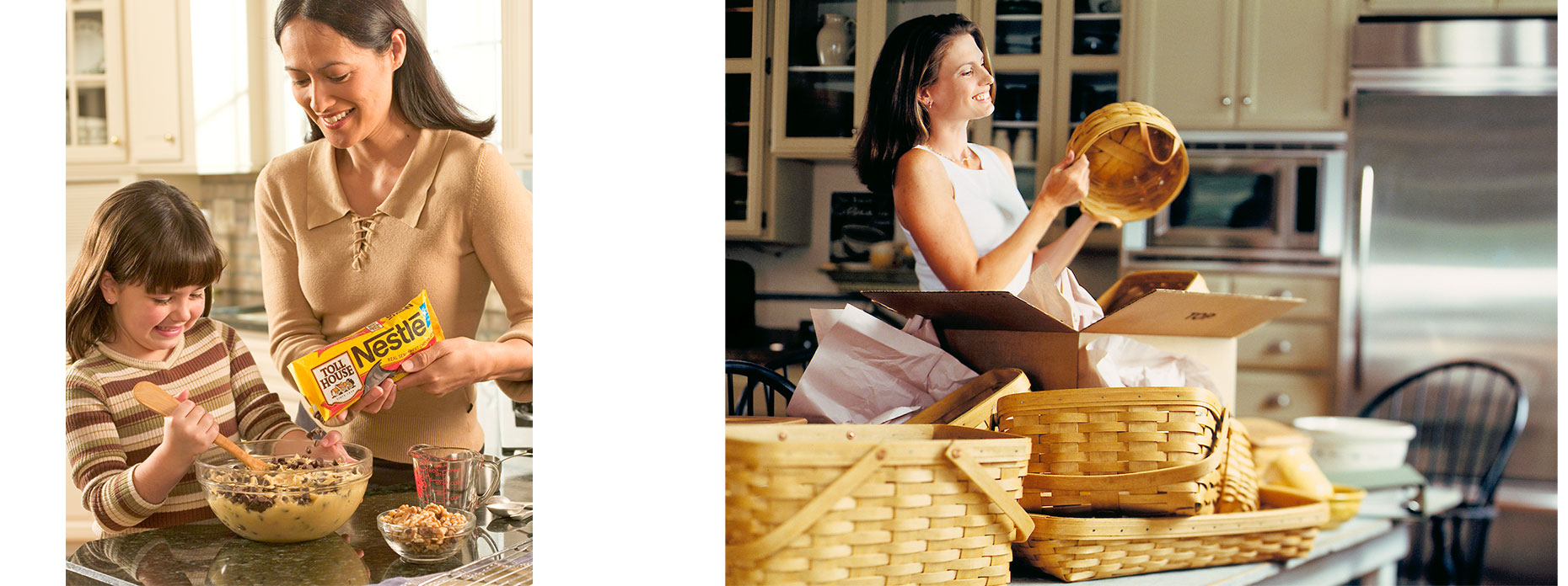 Lifestyle advertisement for Nestle and Lifestyle advertisement for Longaberger baskets