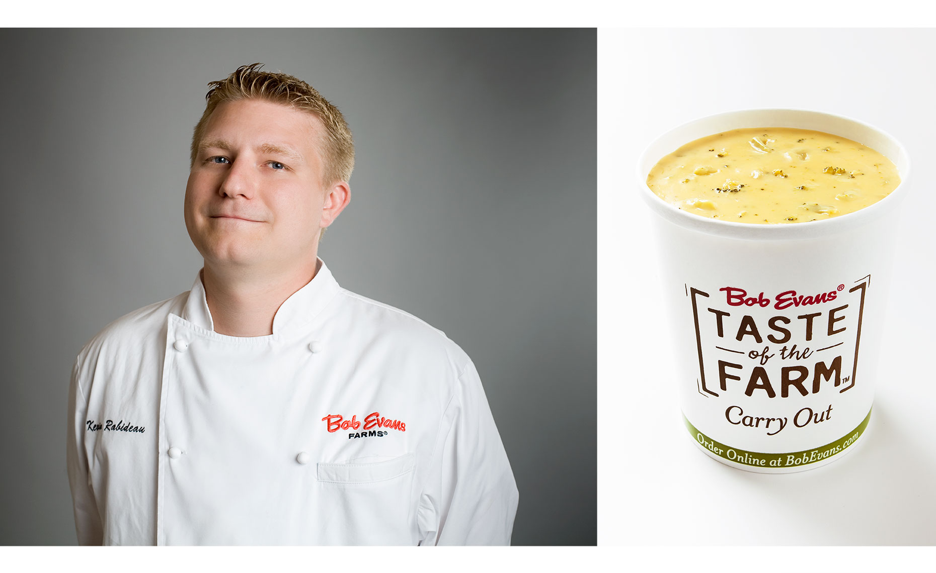 Bob Evans chef on grey background