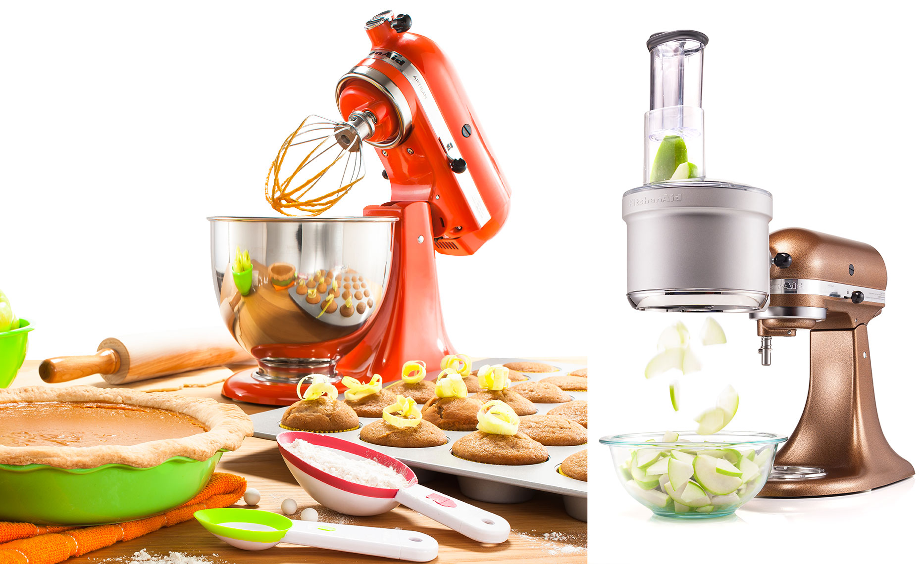 Kitchenaid blender with muffins and apple pie and attachment that cuts apples