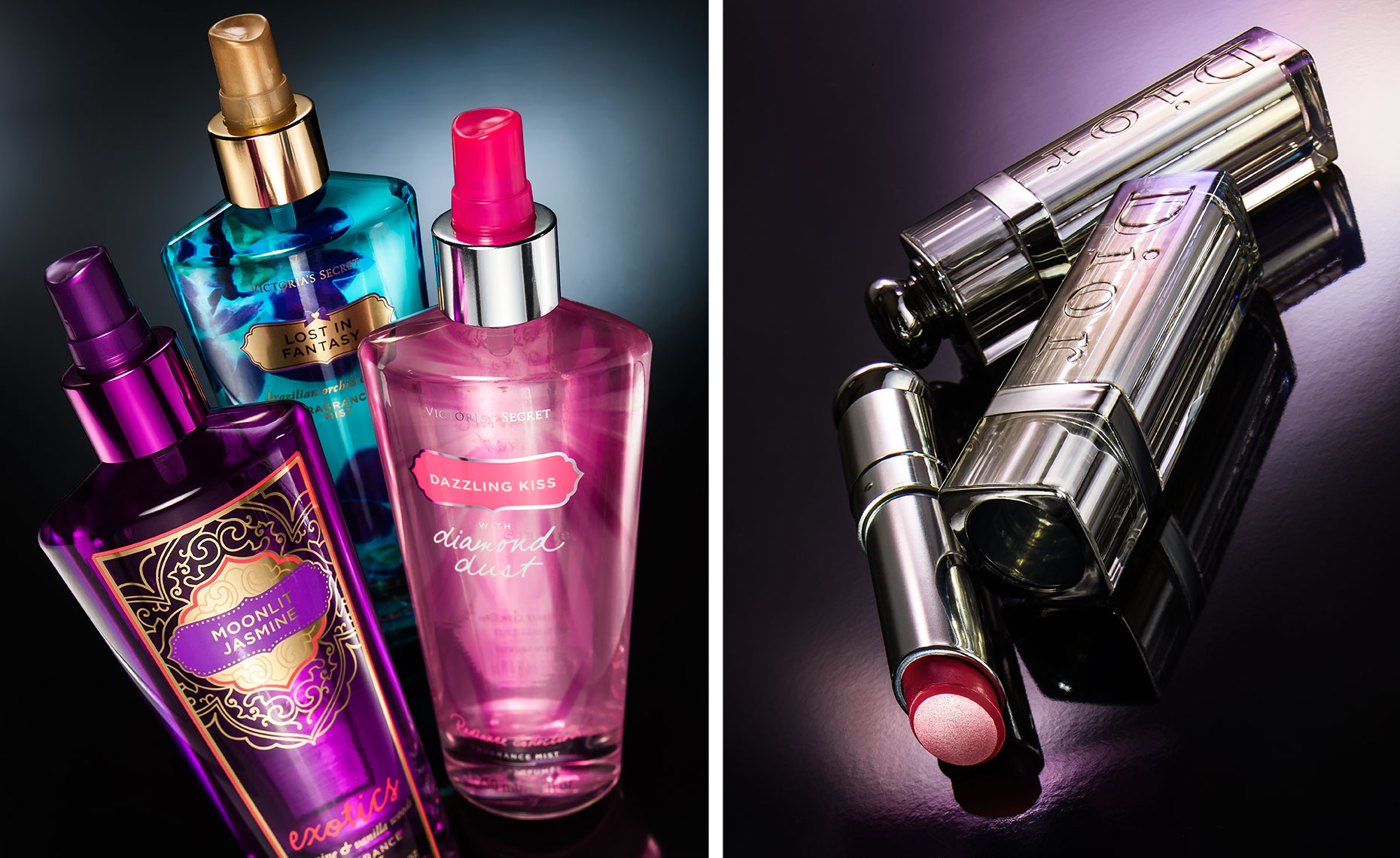 Striking photos of victorias secret perfume and dior lipstick
