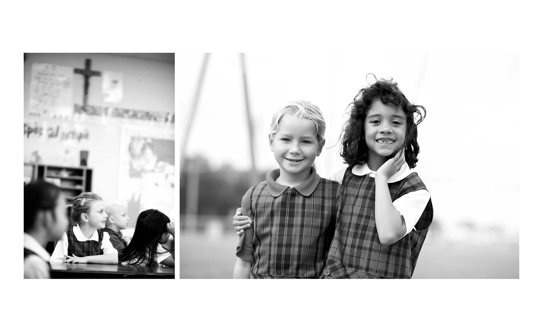 Black and white portraits of Catholic School girls