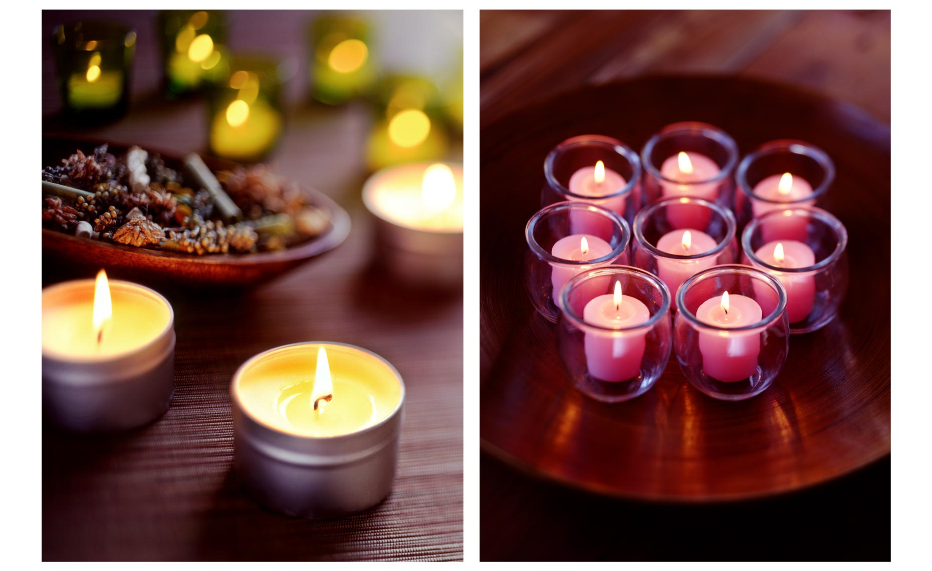 Romantic scenes of candles