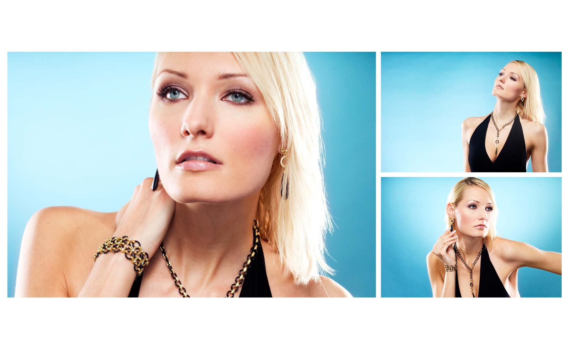 Jewelry shoot with beautiful blonde model