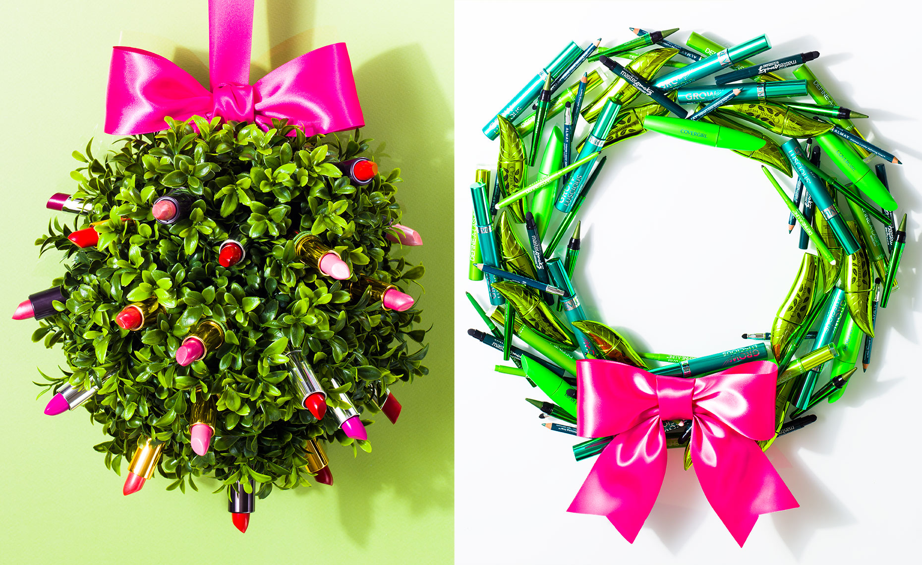 Wreaths of beauty product for Harmon Makeup