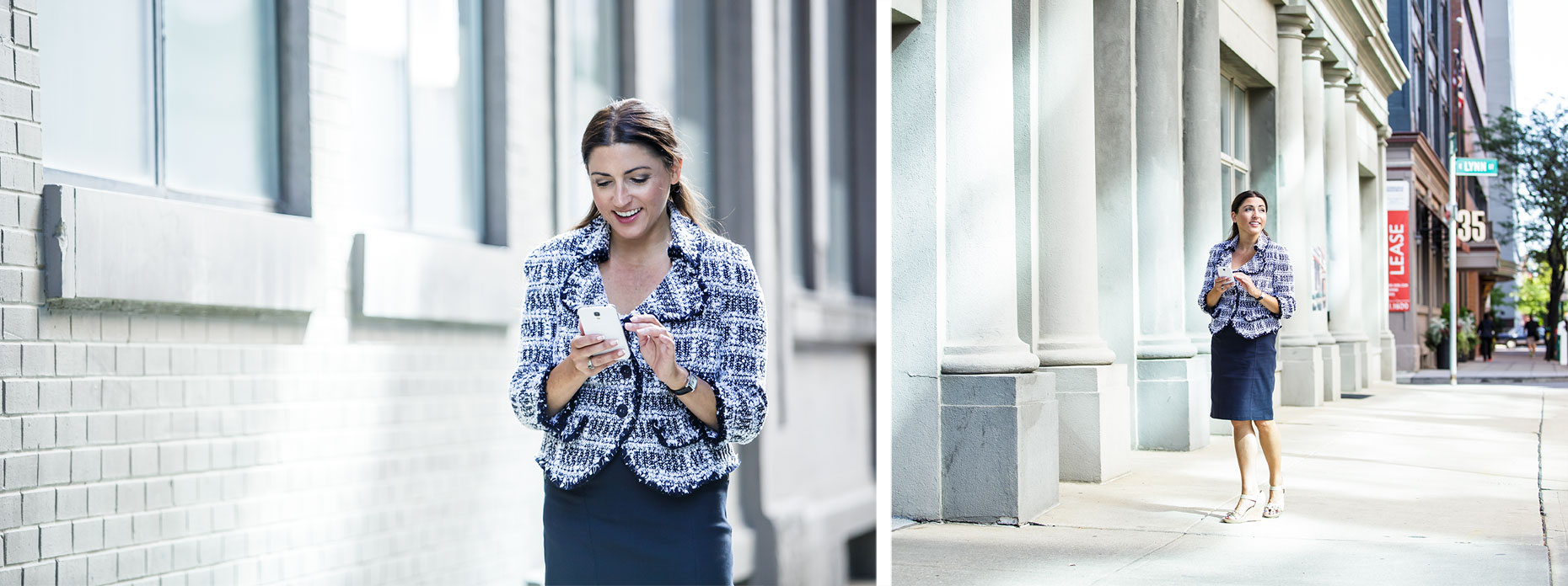 Lifestyle portrait of professional woman using cell phone in city